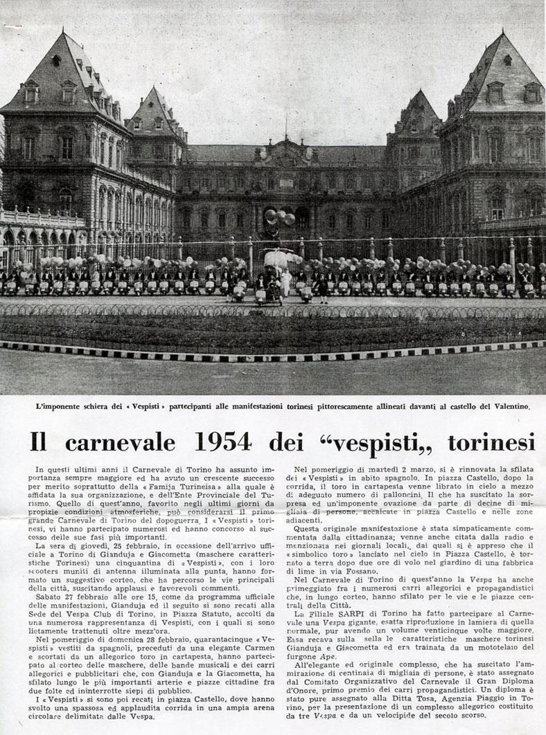 Carnevale 1954 Vespa Club Torino