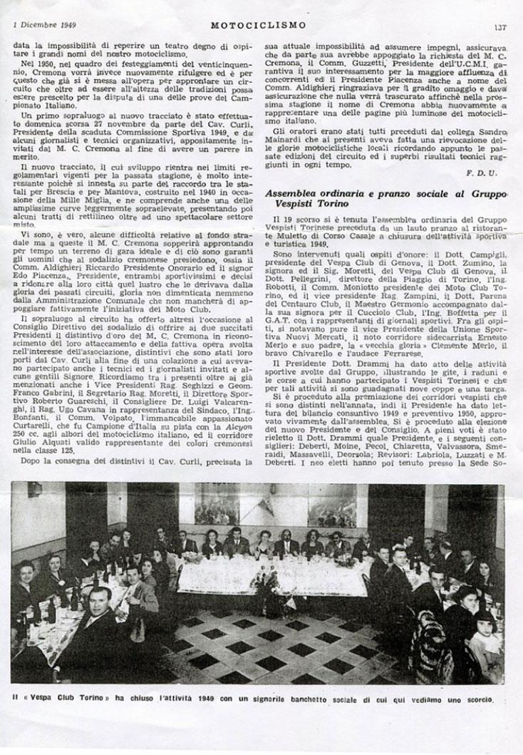 Pranzo del Gruppo Vespisti Torinesi dicembre 1949