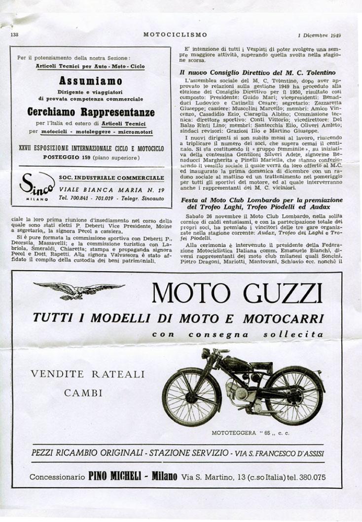 Gruppo Vespisti Torinesi Pranzo dicembre 1949