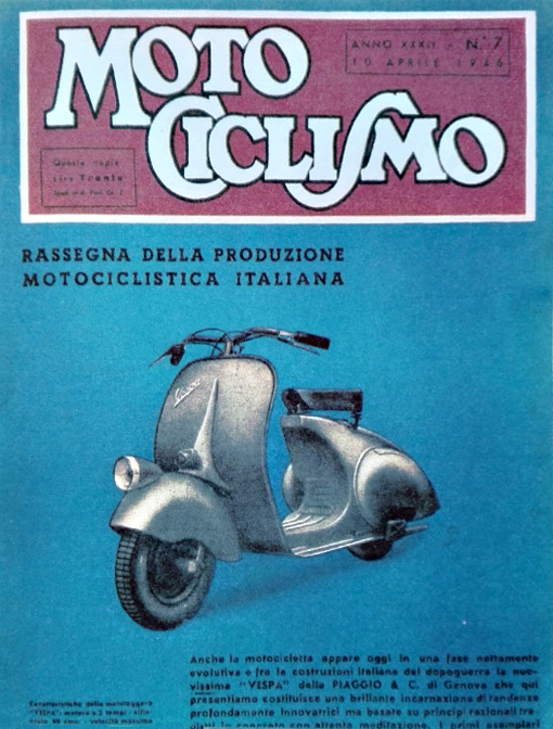 Vespa Club Torino -75 anni Vespa-copertina motociclismo 1946