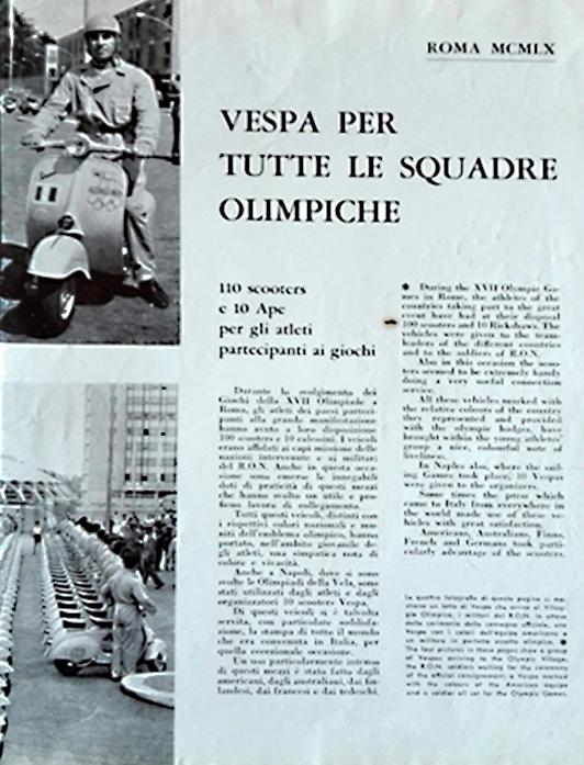 Olimpiadi Roma Vespa e Ape Piaggio